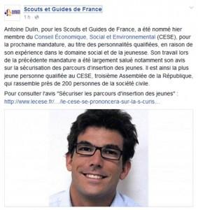 Antoine DULIN, SGDF nommé au Conseil Économique, Social et Environnemental (CESE)