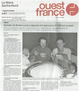 Ouest-France - 2015-11-16 - Sylvain et Anne-Lucie ont parcouru 8 143 km